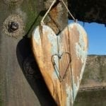 Distressed heart with wire